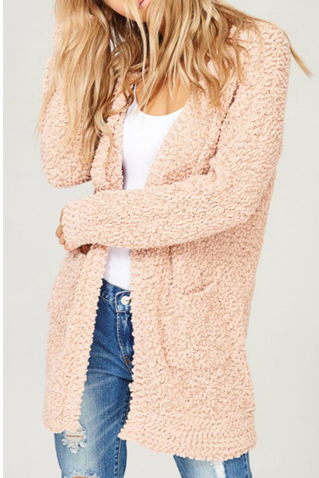 Listicle Blush Knit Cardigan - Front Full Image