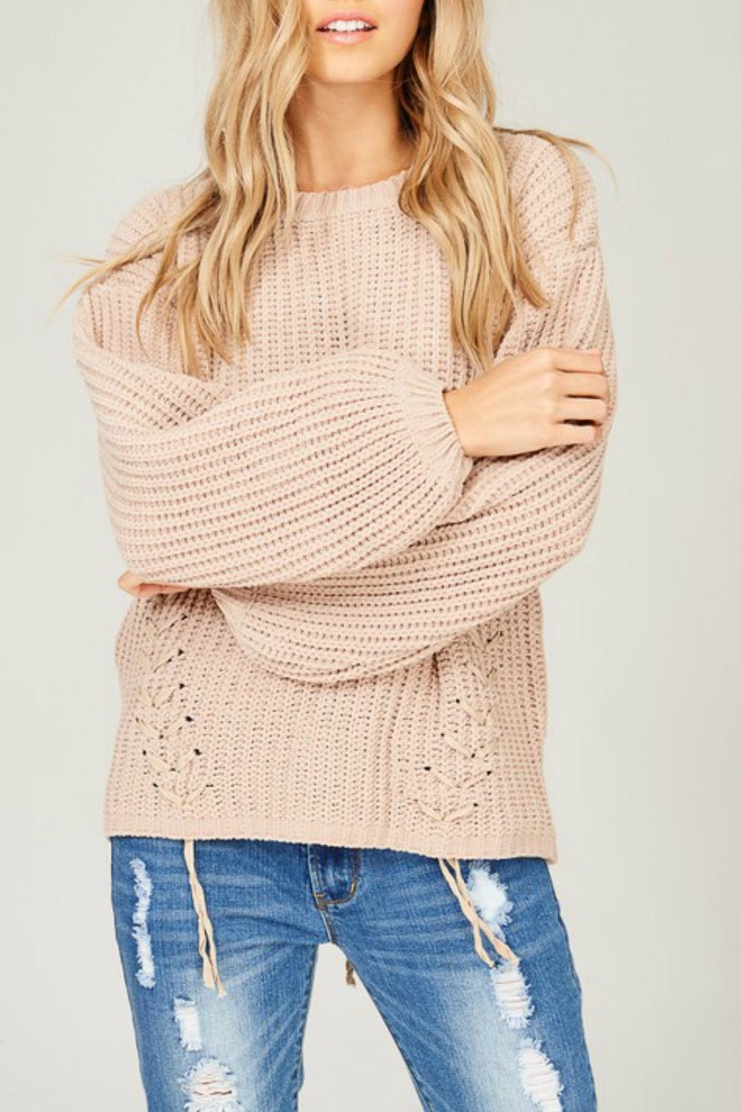 Listicle Chenille Knit Sweater - Front Full Image