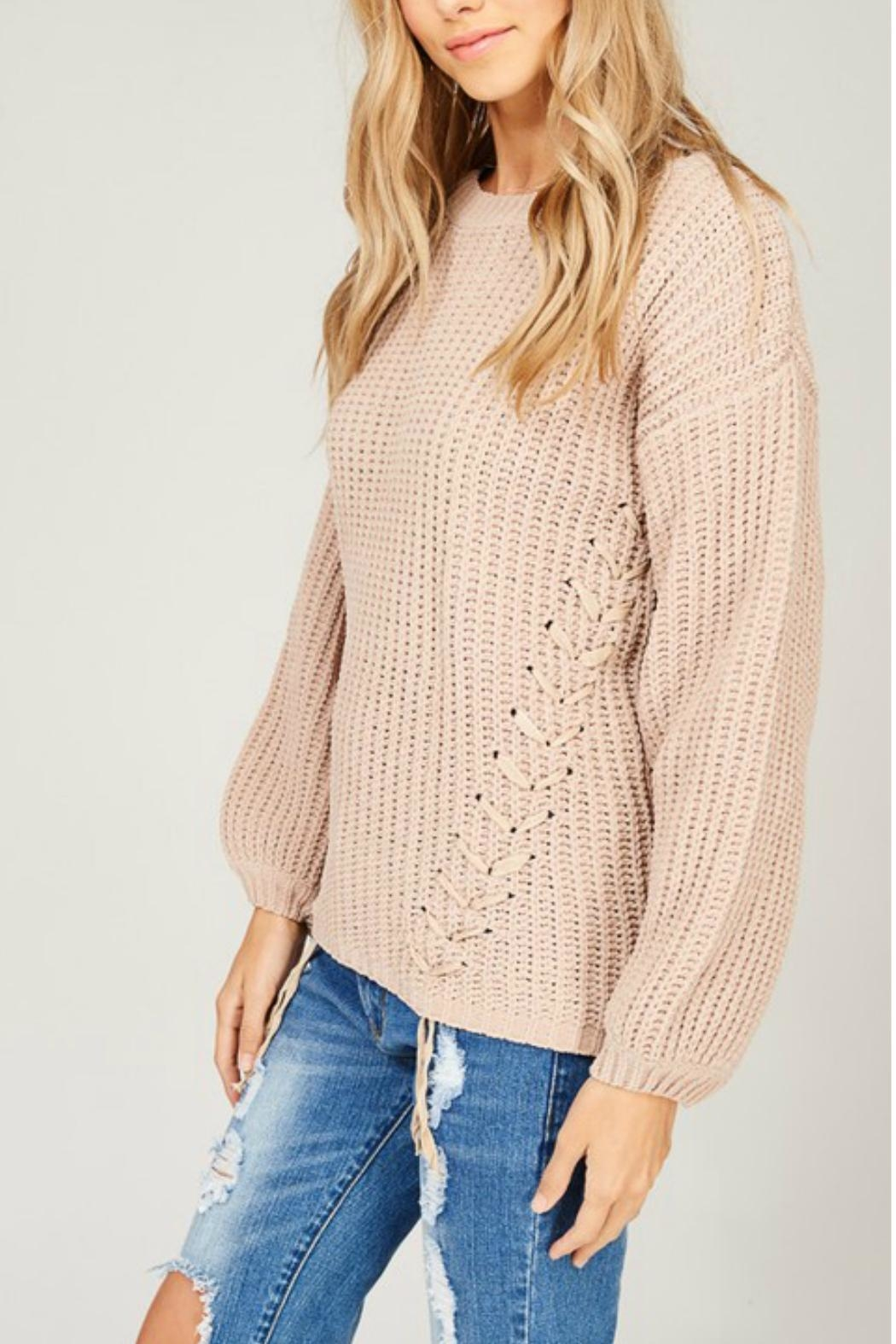 Listicle Chenille Knit Sweater - Side Cropped Image