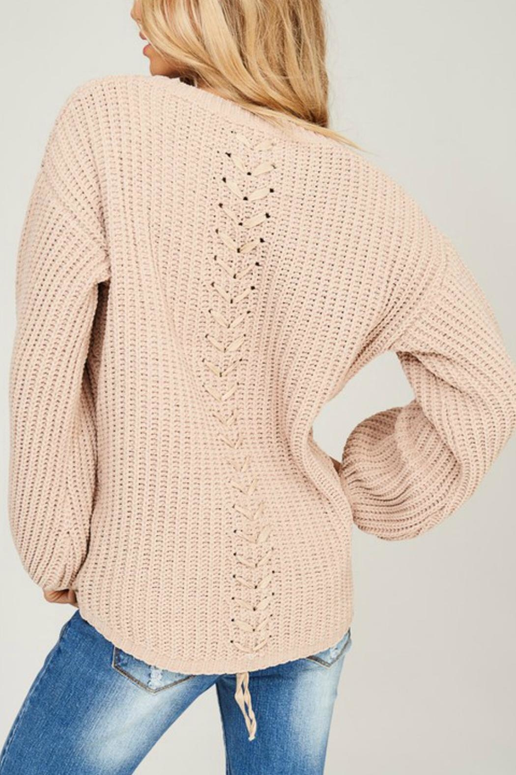 Listicle Chenille Knit Sweater - Back Cropped Image