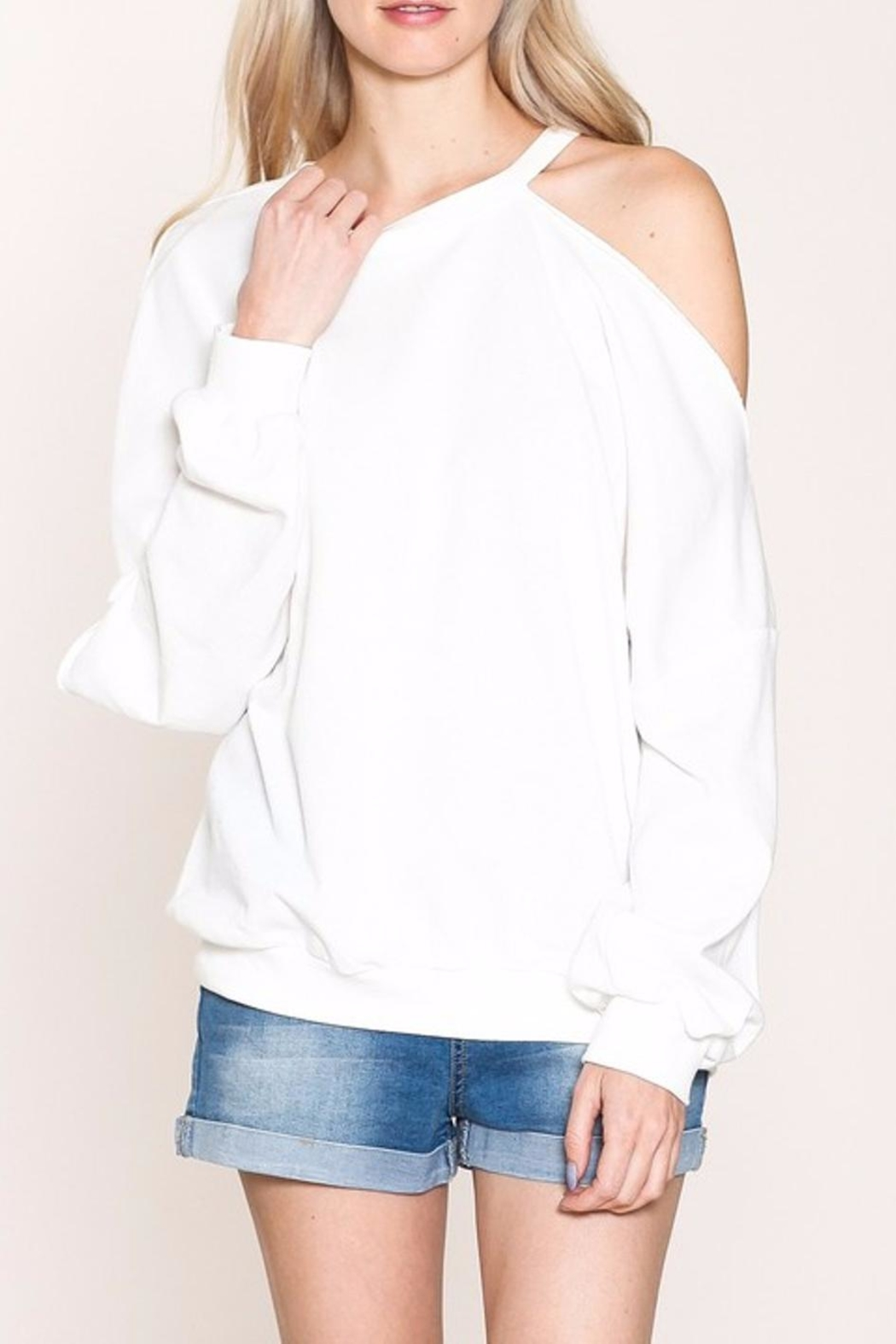 Listicle Cold Shoulder Sweatshirt - Main Image