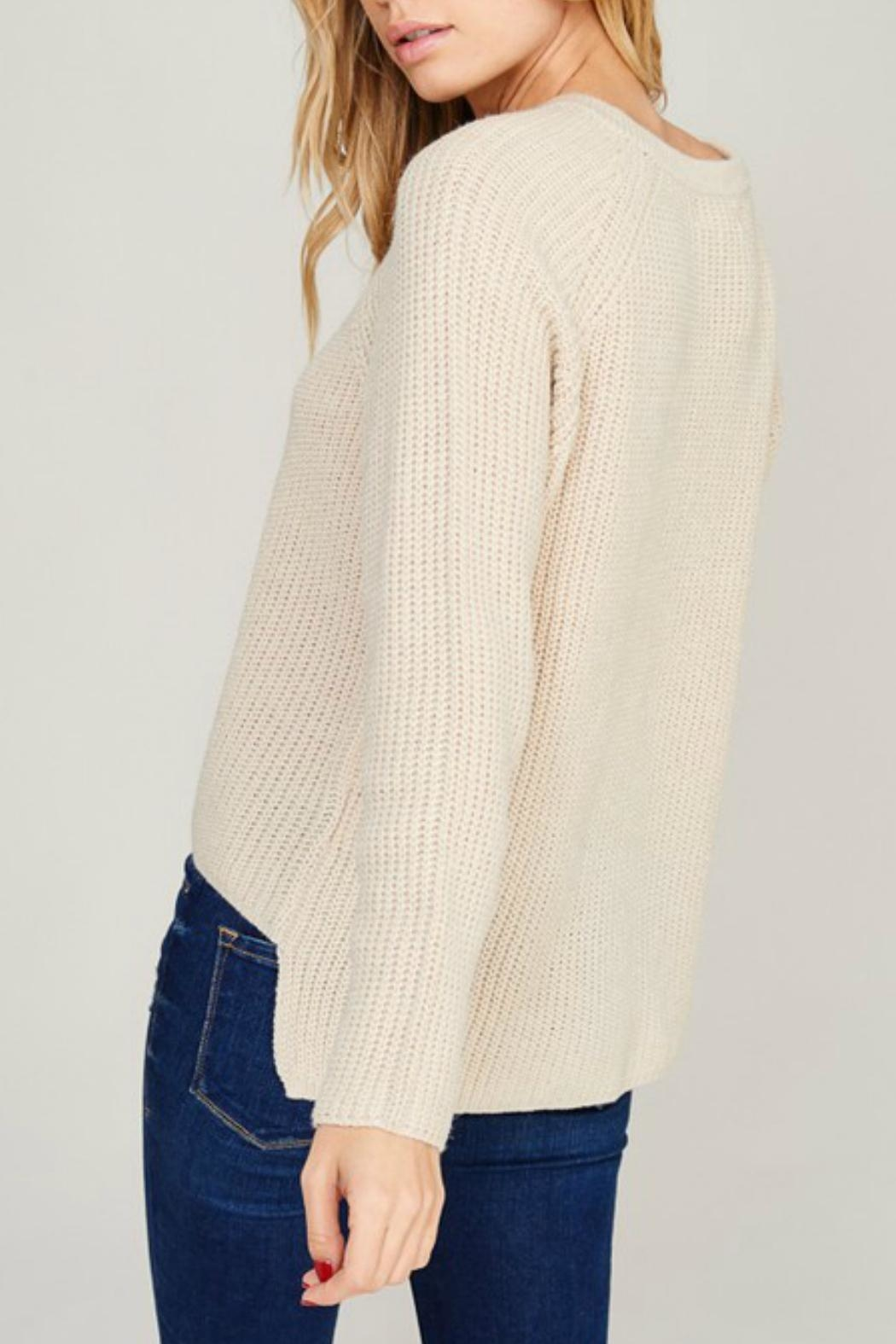 Listicle Cream Lace-Up Sweater - Side Cropped Image