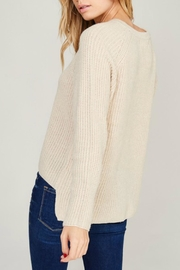 Listicle Cream Lace-Up Sweater - Side cropped