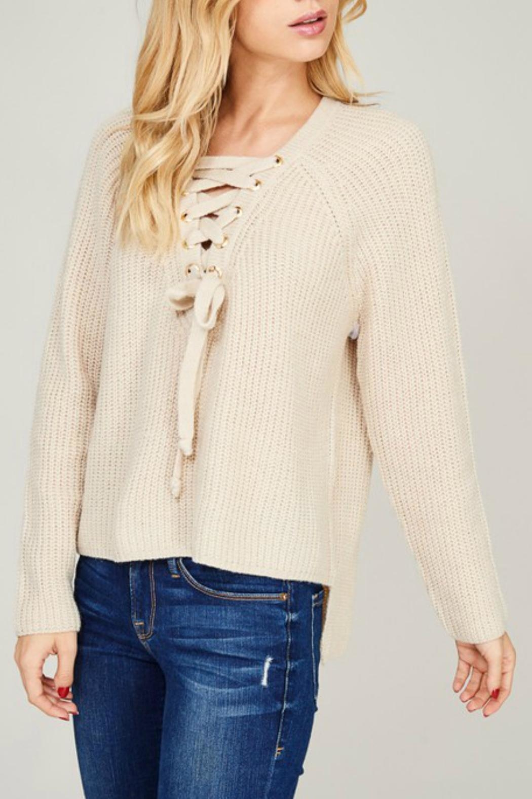 Listicle Cream Lace-Up Sweater - Front Full Image