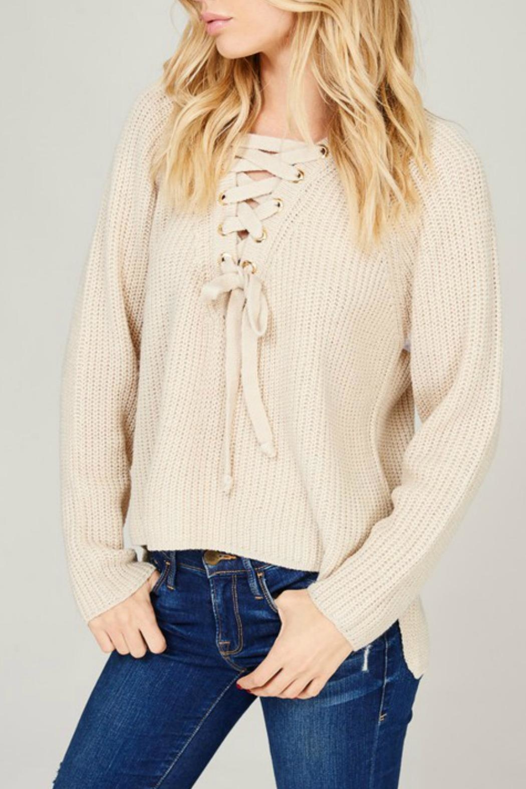 Listicle Cream Lace-Up Sweater - Main Image