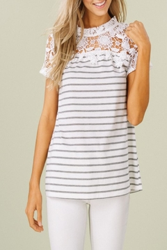 Listicle Crochet Striped Top - Product List Image