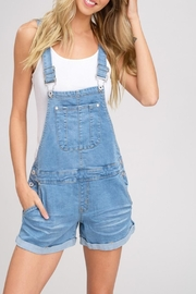 Listicle Denim Short Overalls - Product Mini Image