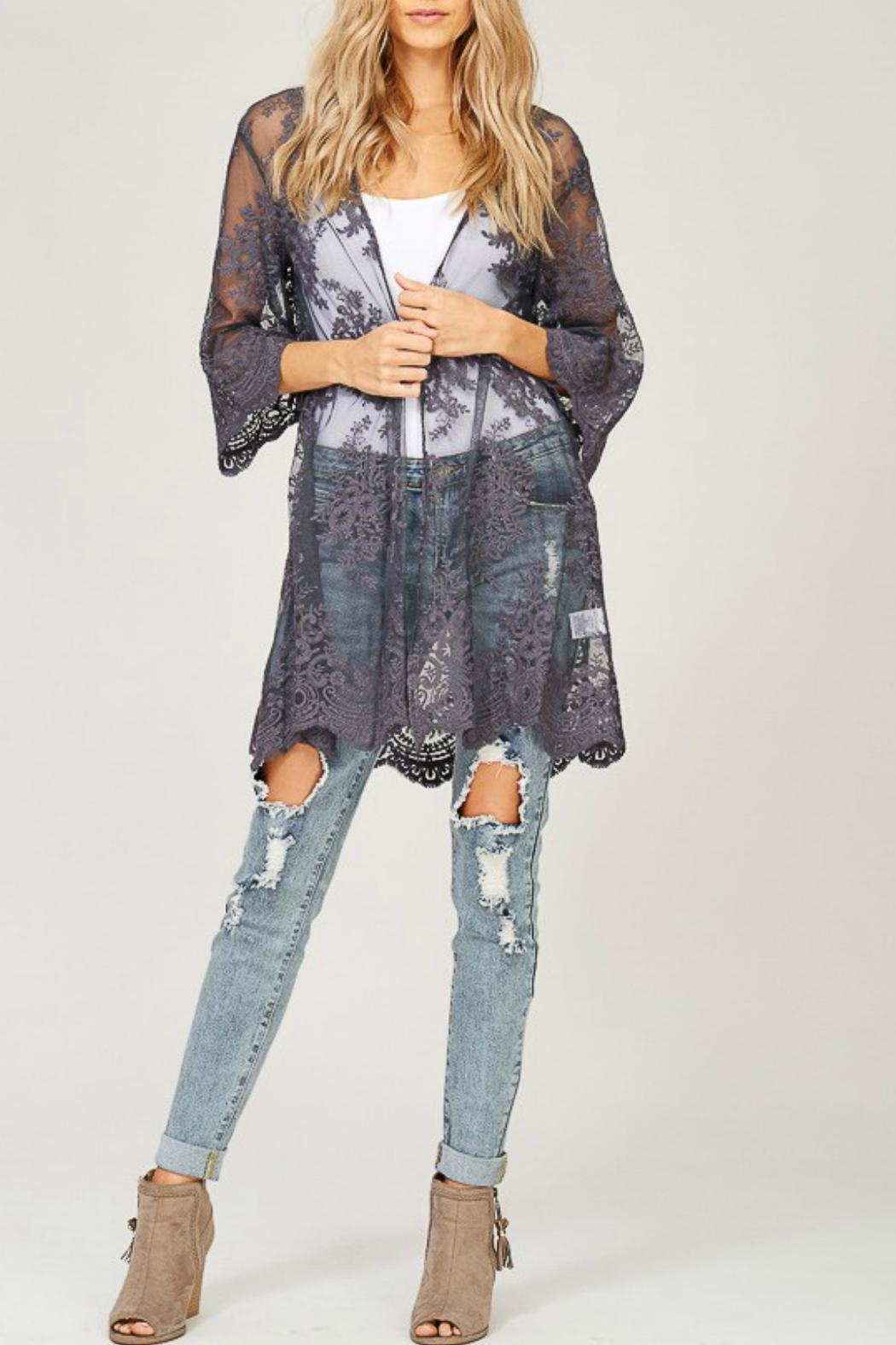 Listicle Embroidered Lace Kimono - Front Cropped Image