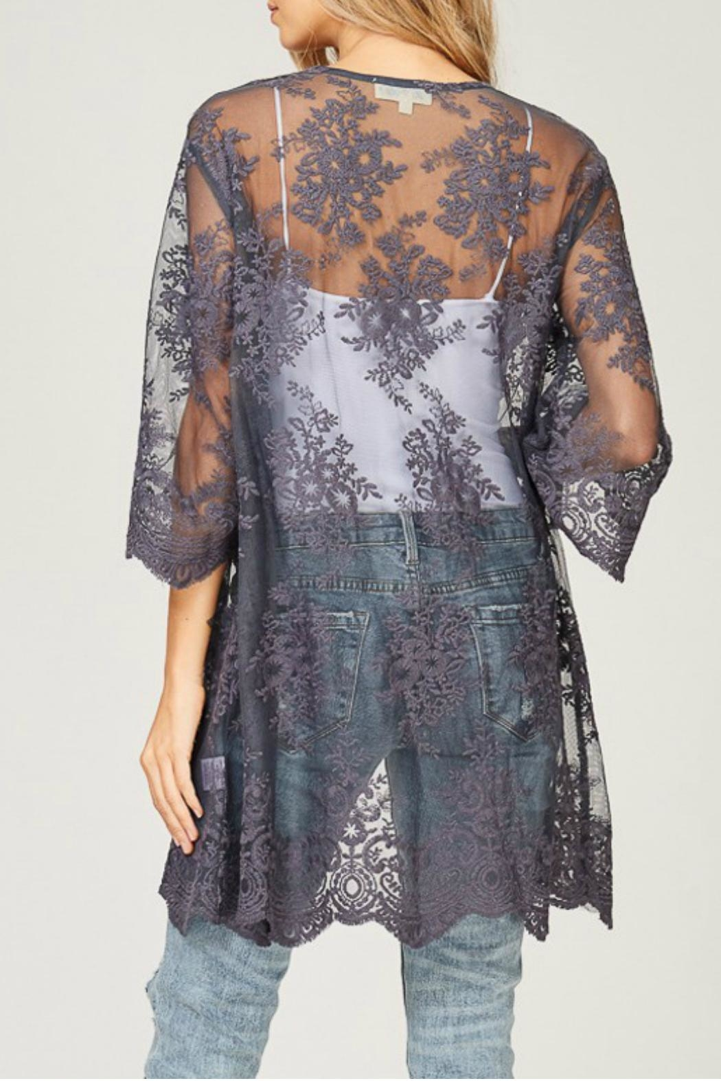 Listicle Embroidered Lace Kimono - Back Cropped Image
