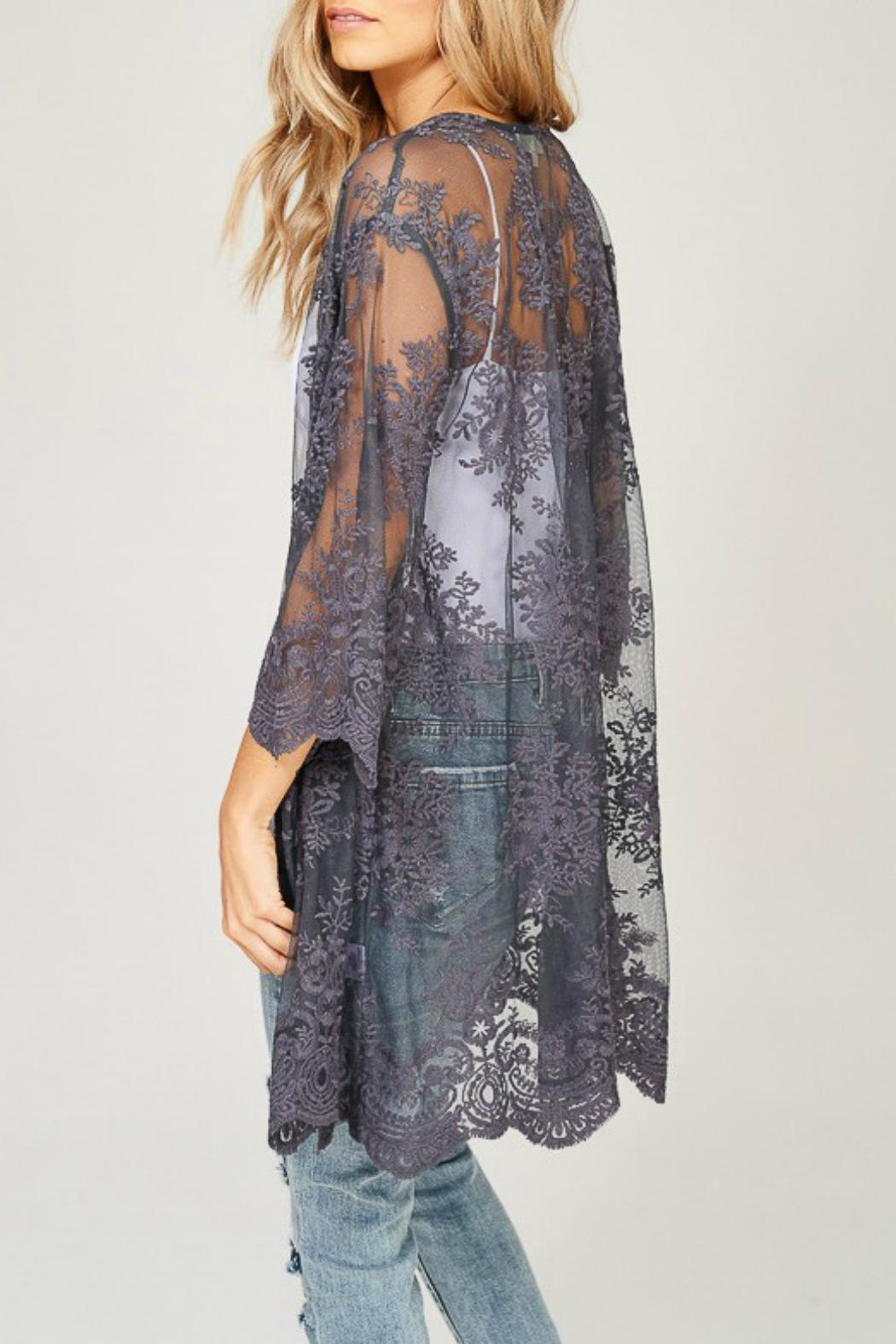 Listicle Embroidered Lace Kimono - Side Cropped Image