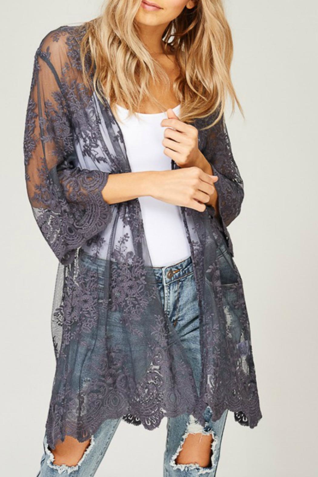 Listicle Embroidered Lace Kimono - Front Full Image