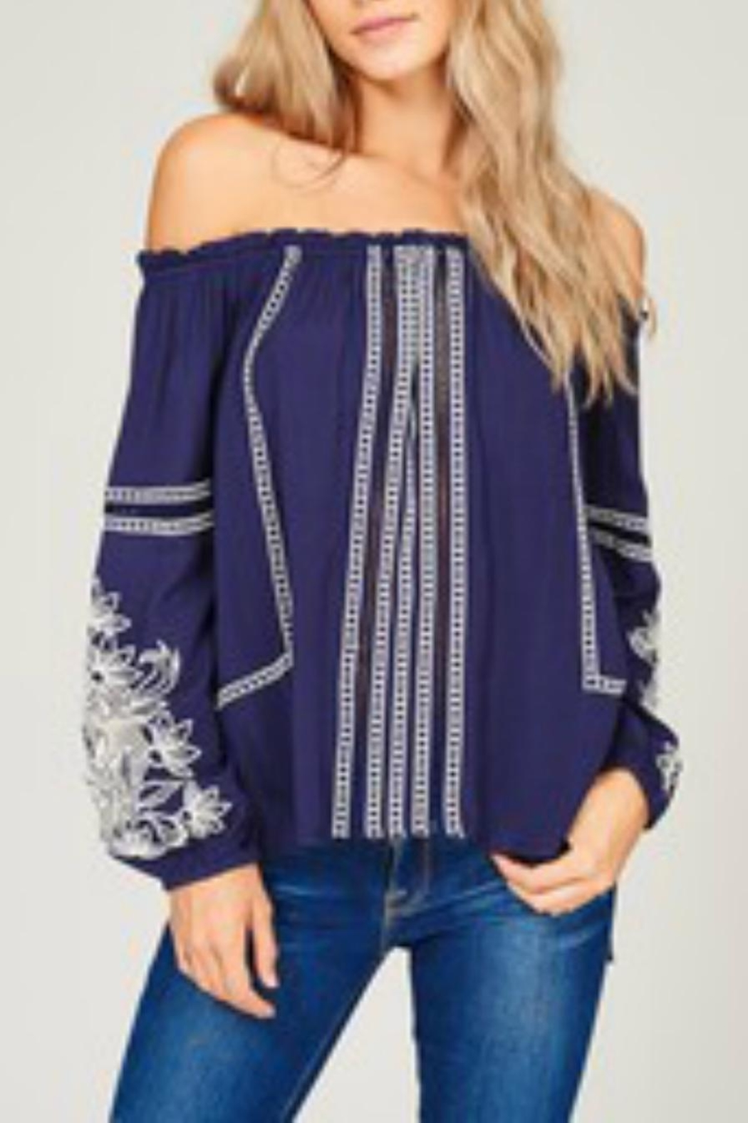 Listicle Embroidered Off-Shoulder Top - Main Image