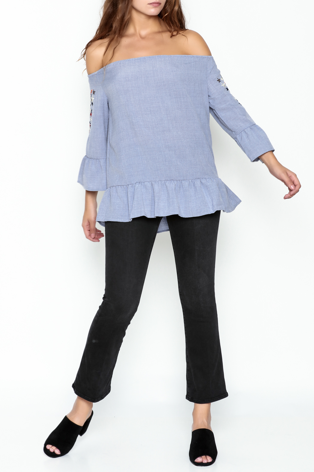 Listicle Embroidered Ruffle Top - Side Cropped Image
