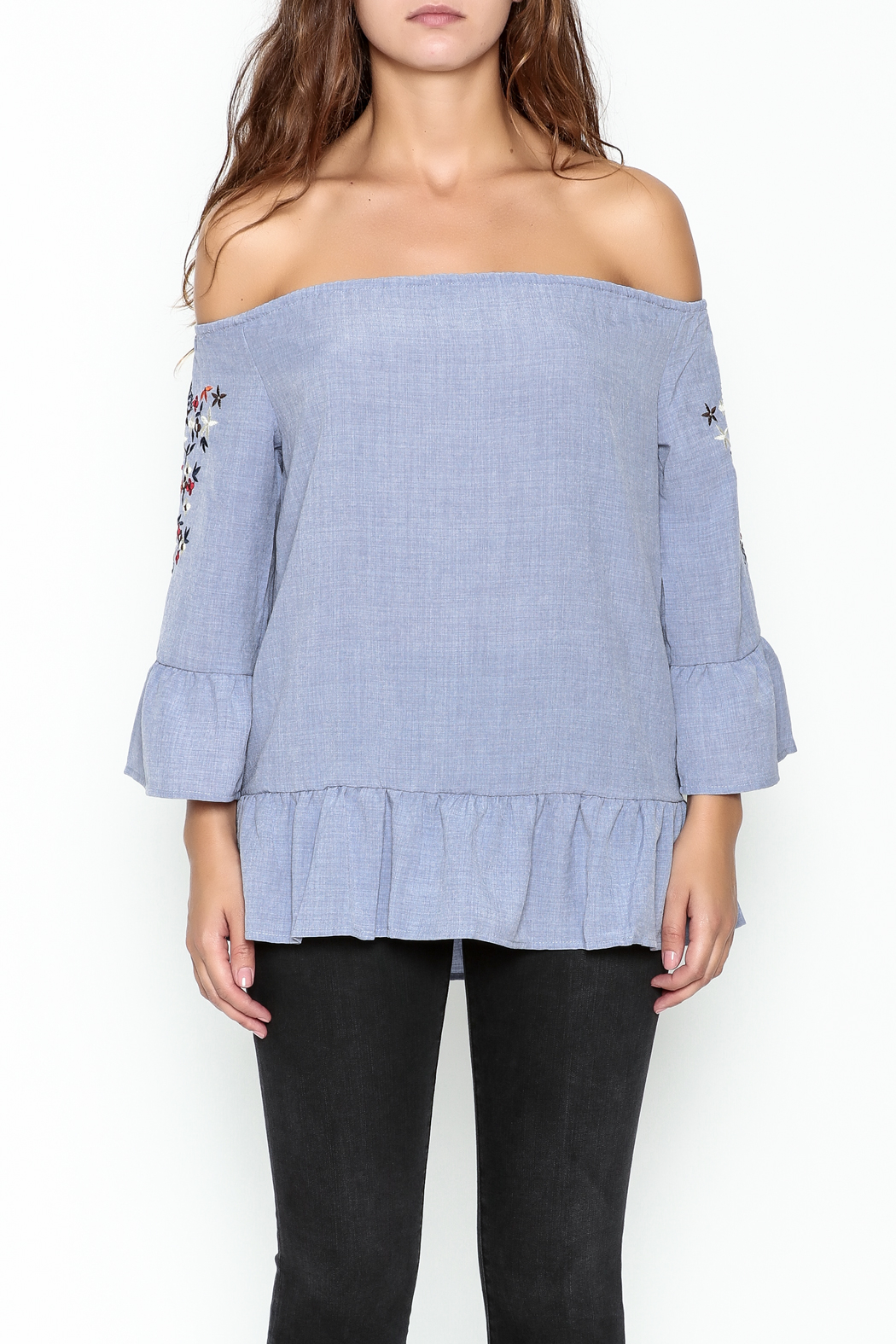 Listicle Embroidered Ruffle Top - Front Full Image