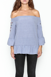 Listicle Embroidered Ruffle Top - Front full body