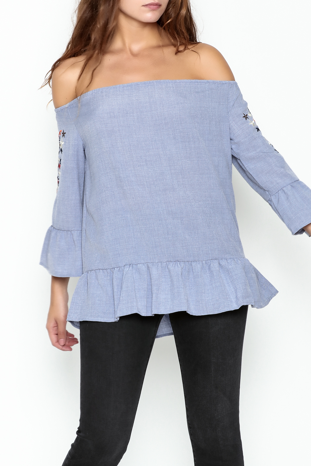 Listicle Embroidered Ruffle Top - Main Image