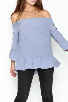 Listicle Embroidered Ruffle Top - Product List Image