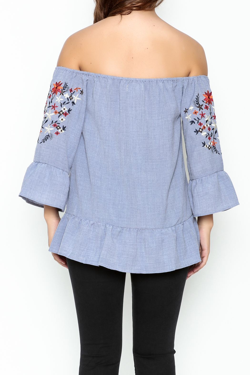 Listicle Embroidered Ruffle Top - Back Cropped Image