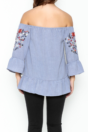 Listicle Embroidered Ruffle Top - Back cropped