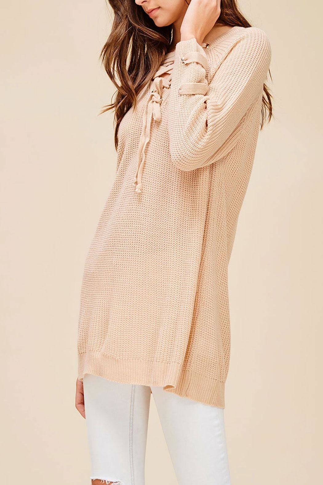 Listicle Everly Sweater Blush Top - Side Cropped Image