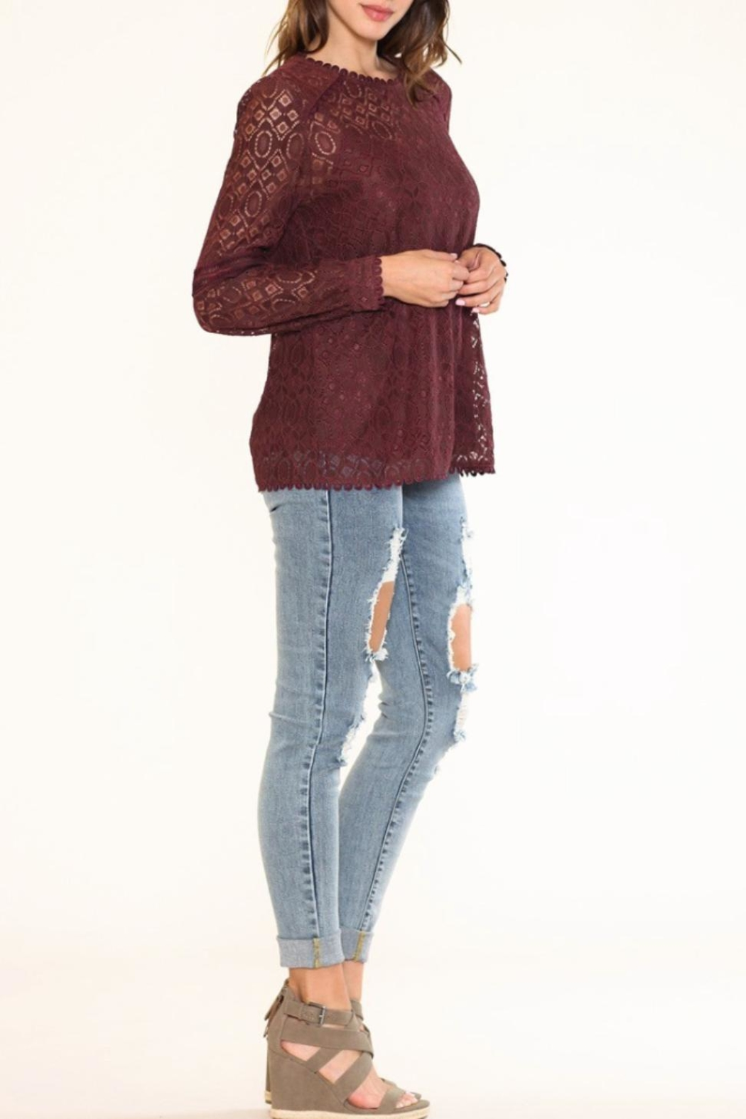 Listicle Floral Lace Top - Side Cropped Image