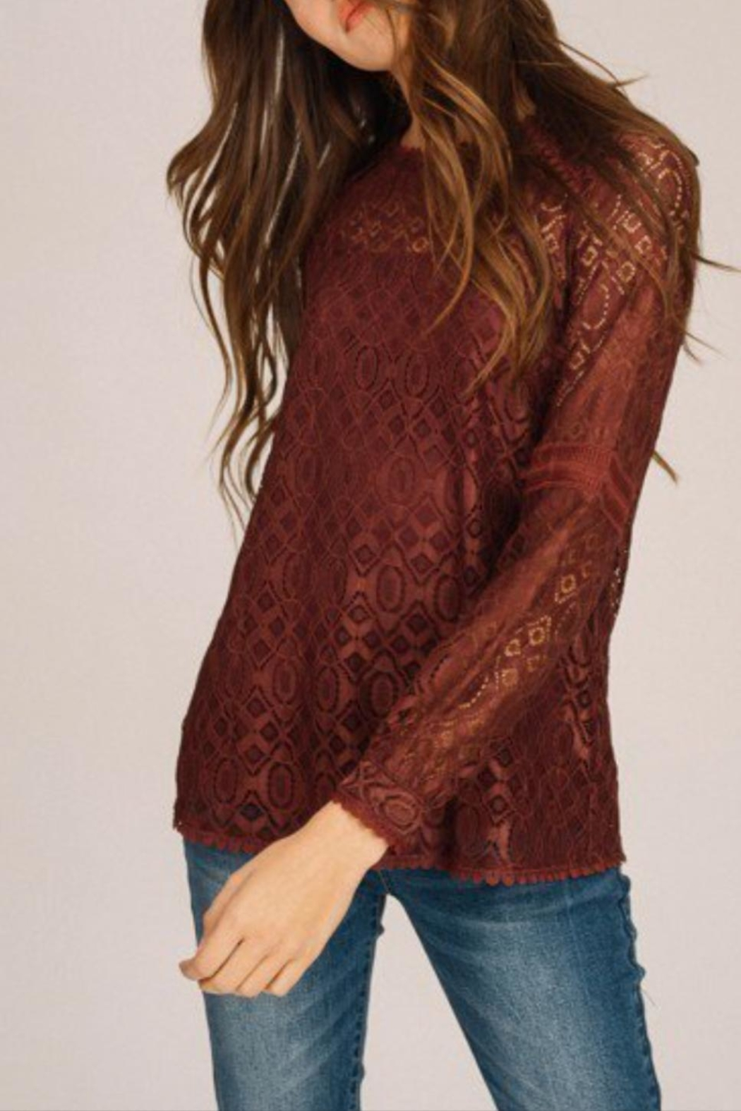 Listicle Floral Lace Top - Back Cropped Image