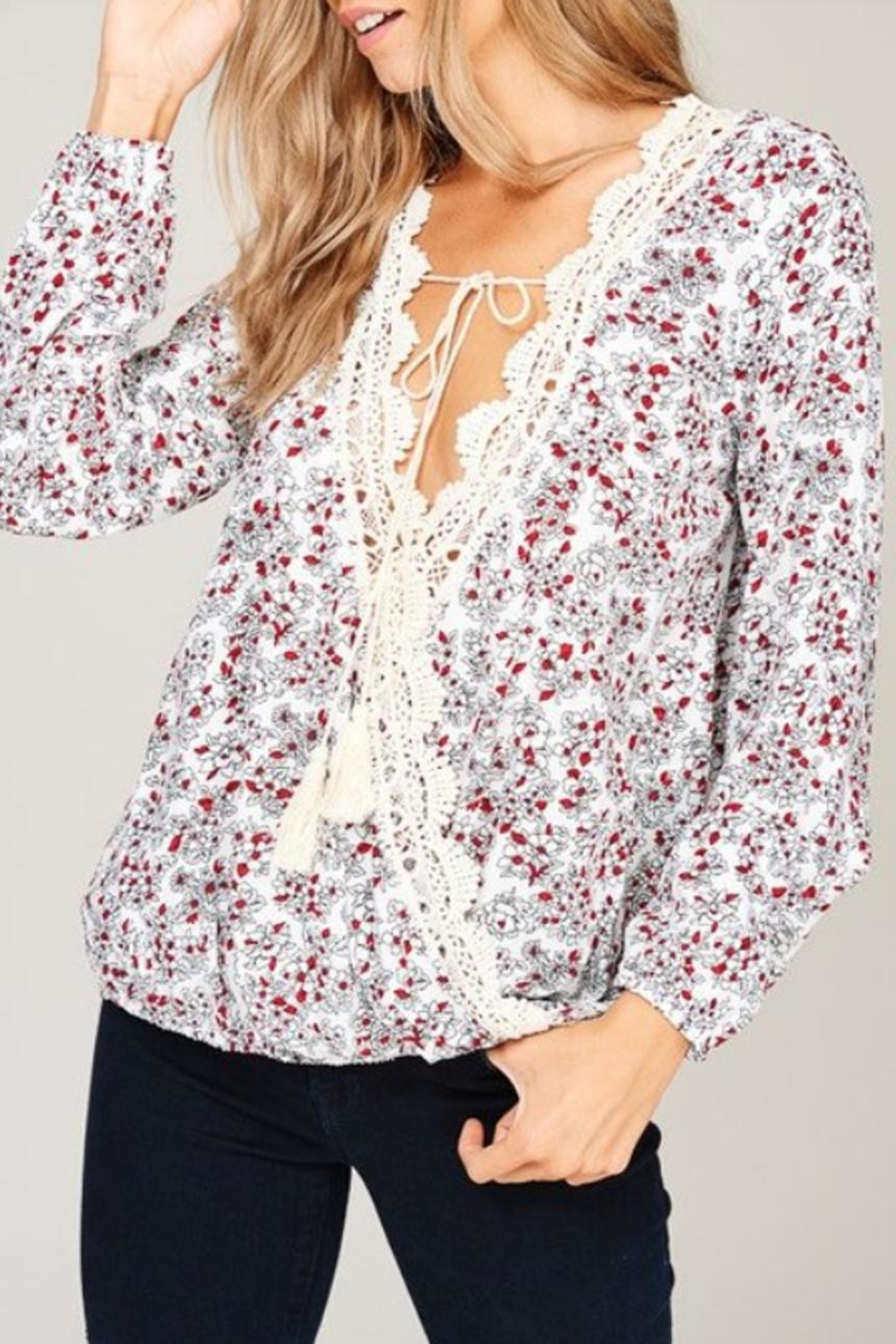 Listicle Floral Print Top - Front Full Image