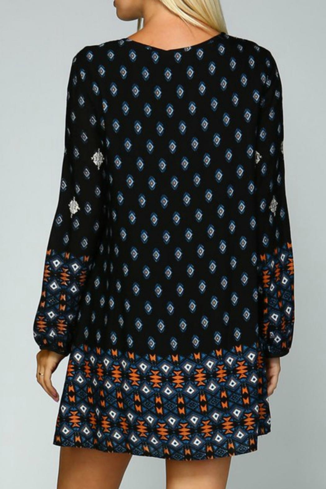 Listicle Geometric Embroidered Dress - Back Cropped Image