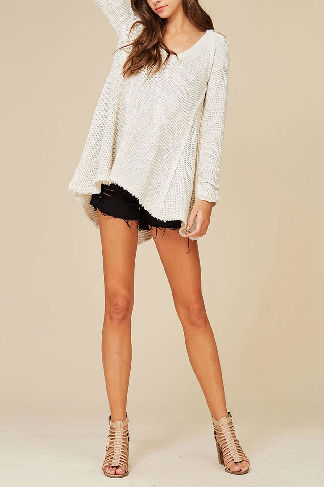 Listicle High Low Sweater - Front Cropped Image