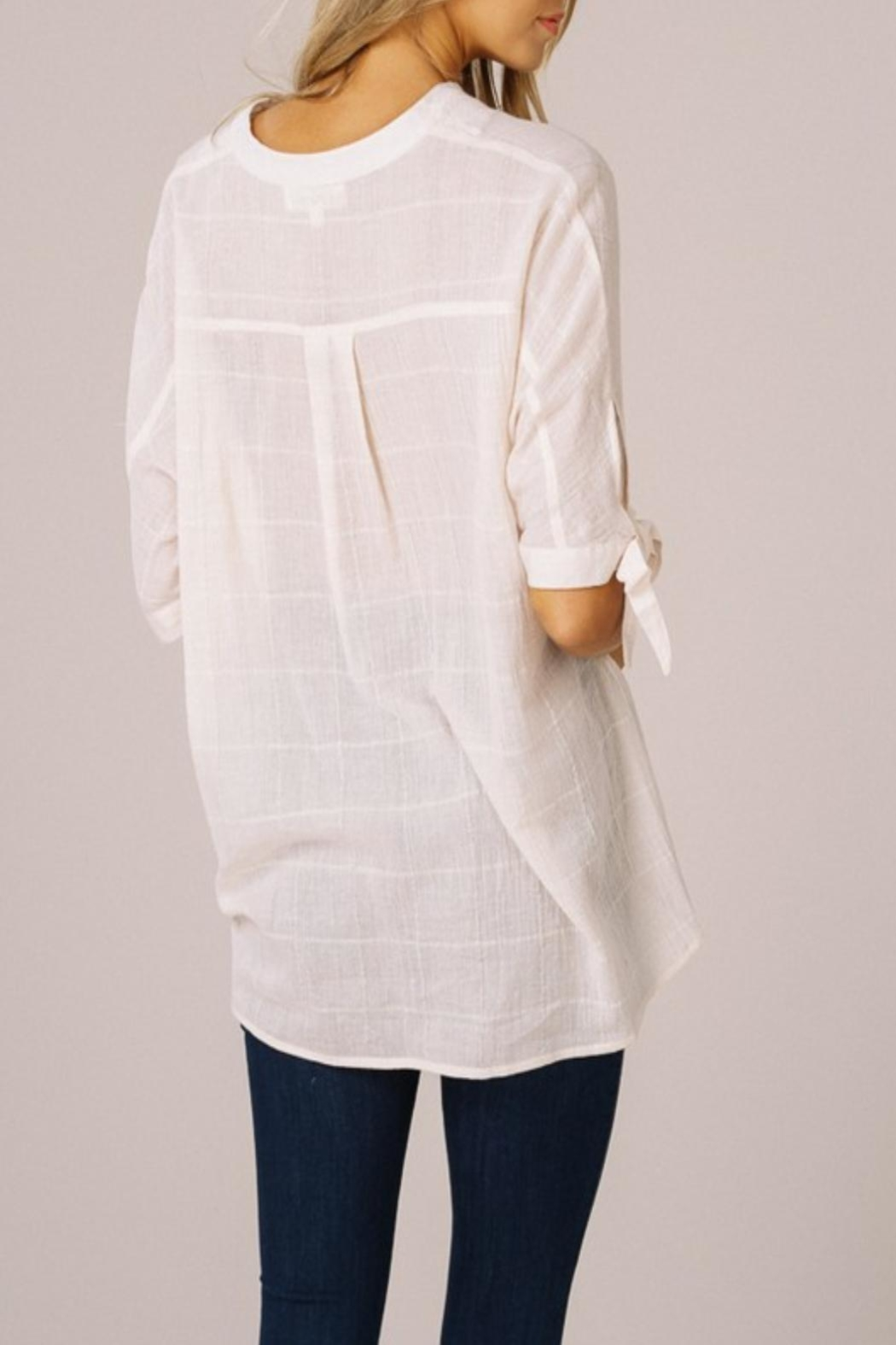 Listicle High-Low V-Neck Top - Front Full Image