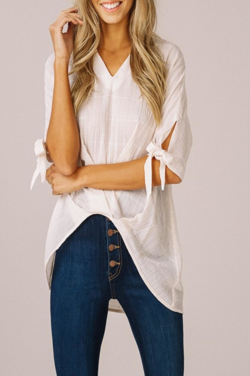Listicle High-Low V-Neck Top - Back Cropped Image