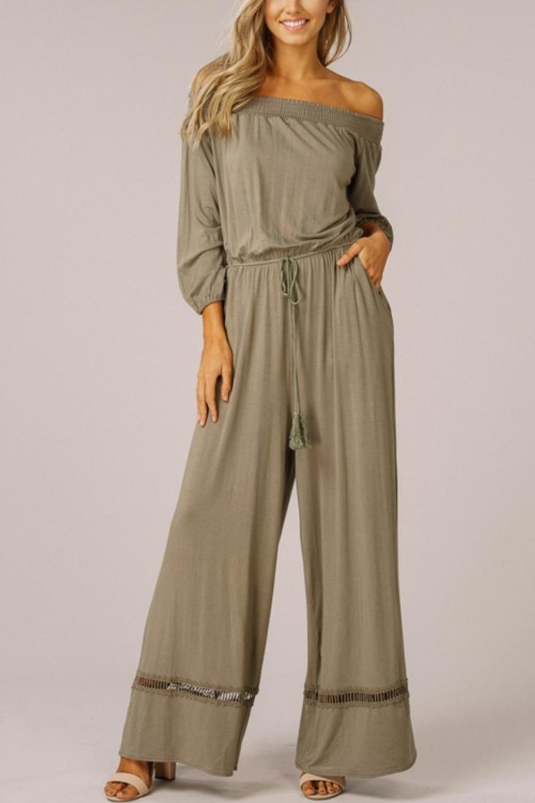 Listicle Jersey Off-Shoulder Romper - Front Cropped Image