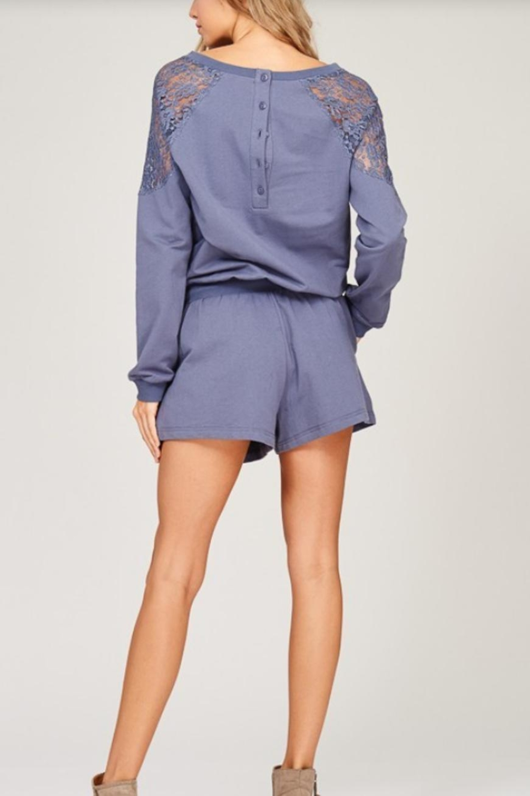 Listicle Lace Detailed Romper - Back Cropped Image