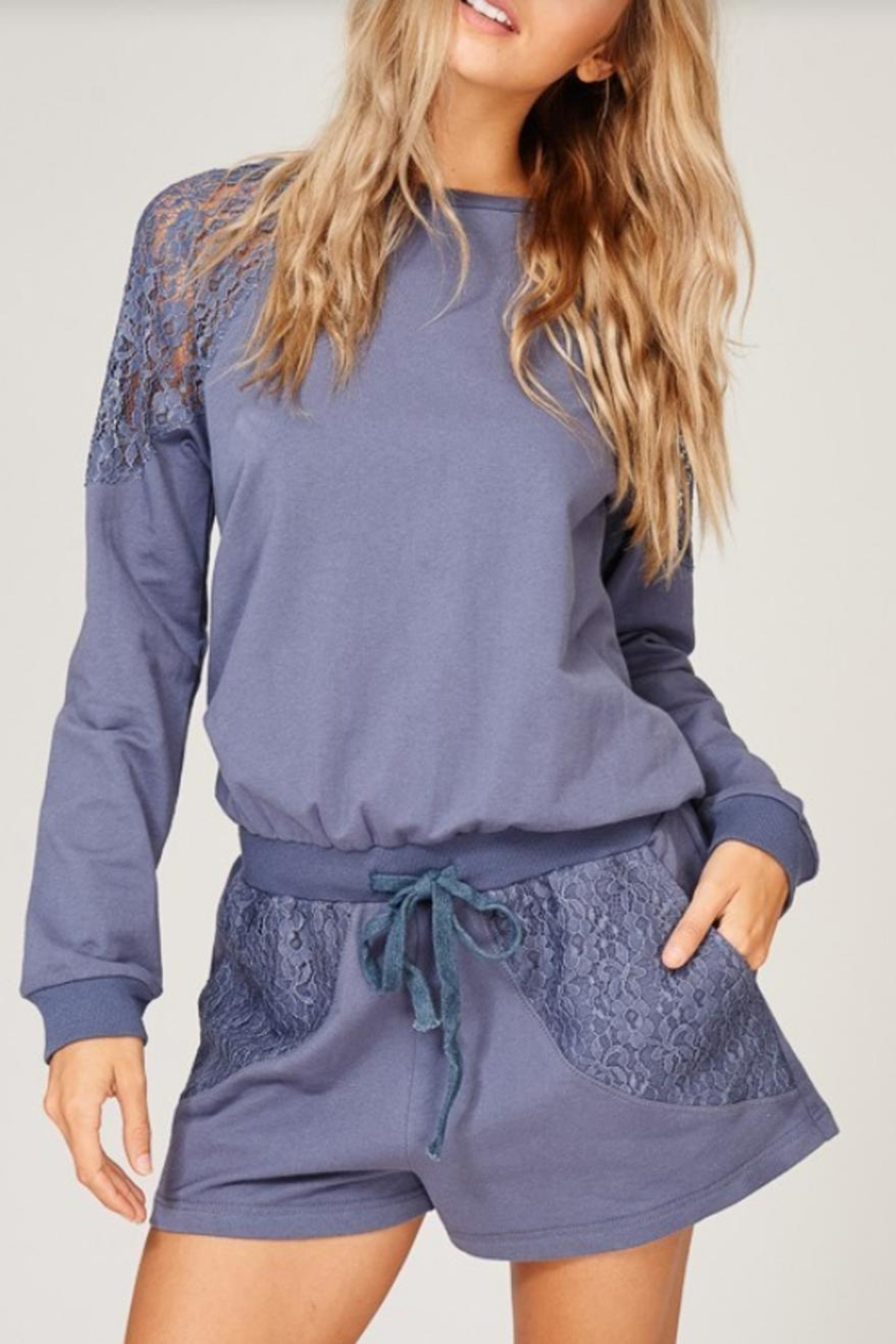 Listicle Lace Detailed Romper - Front Full Image