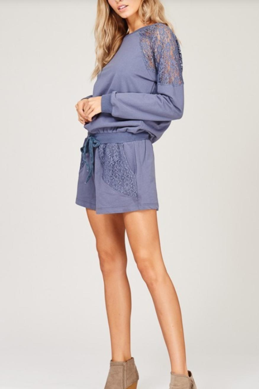 Listicle Lace Detailed Romper - Side Cropped Image