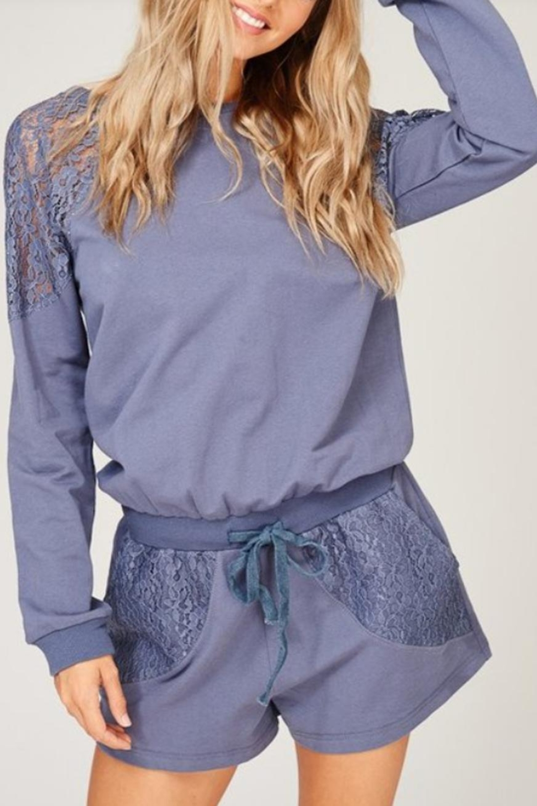 Listicle Lace Detailed Romper - Main Image