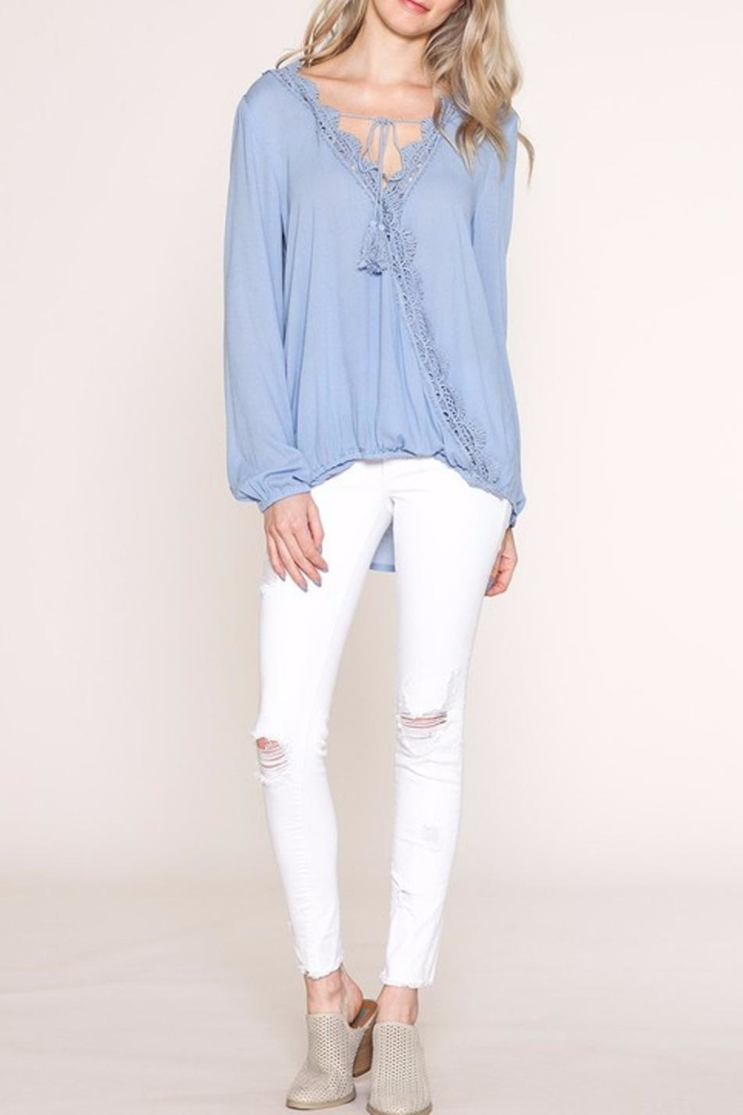 Listicle Lace Trim Top - Side Cropped Image