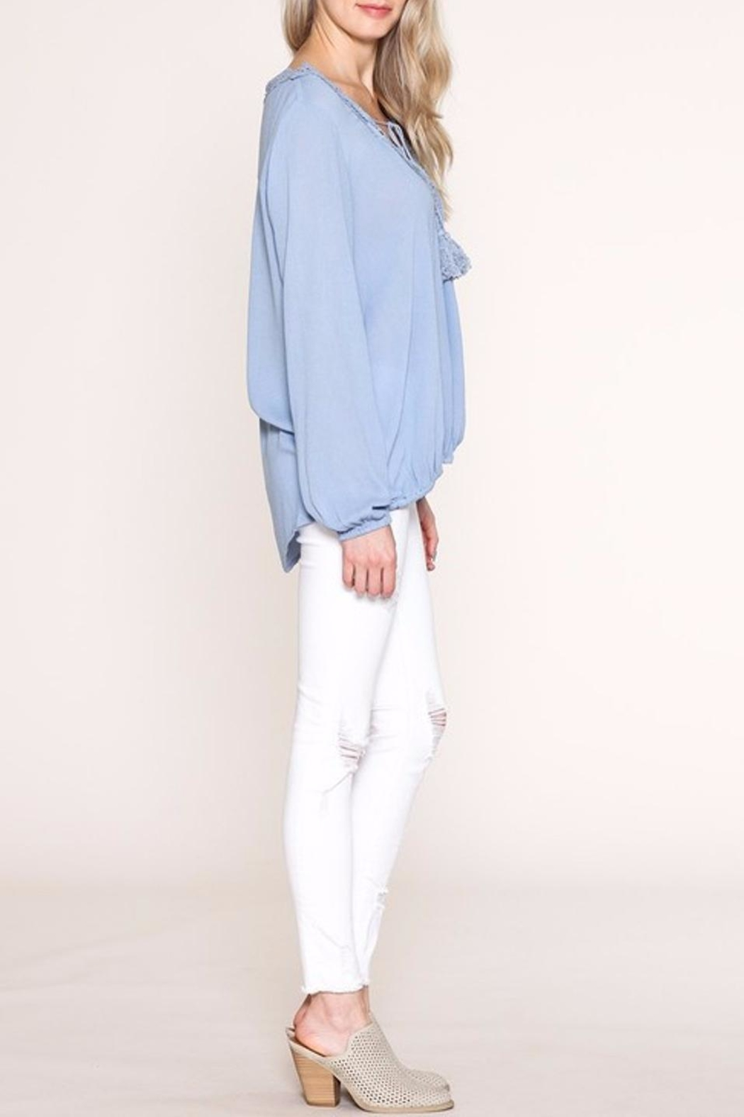 Listicle Lace Trim Top - Back Cropped Image