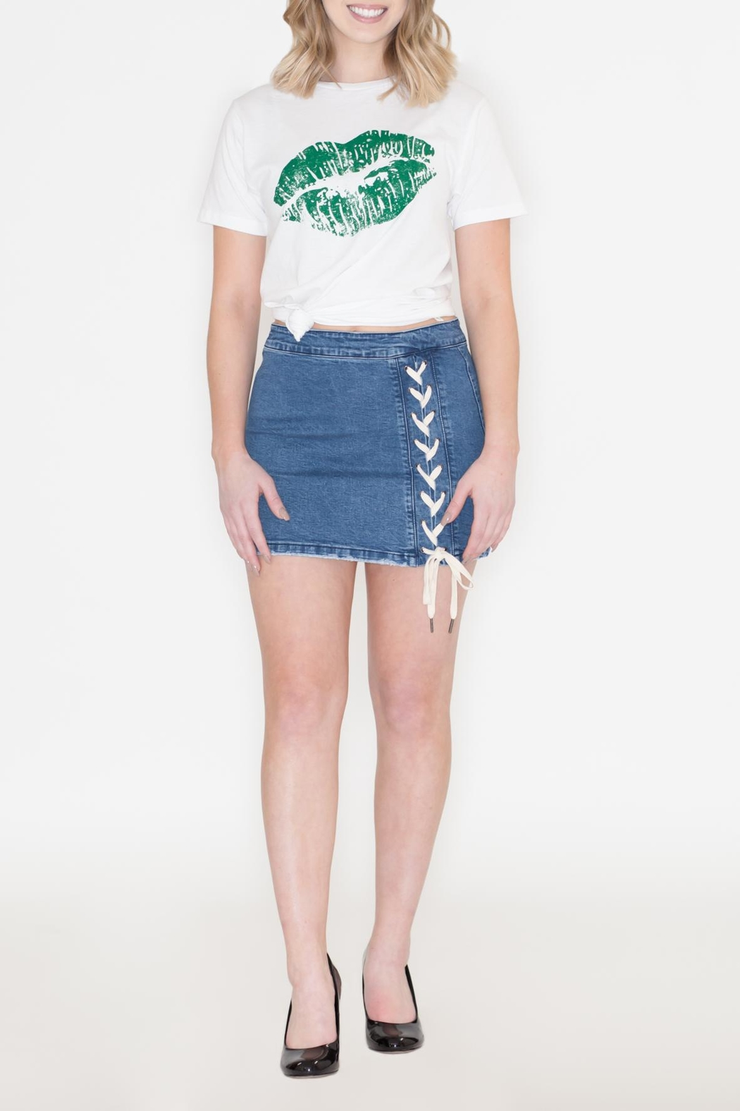Listicle Lace-Up Denim Skirt - Back Cropped Image