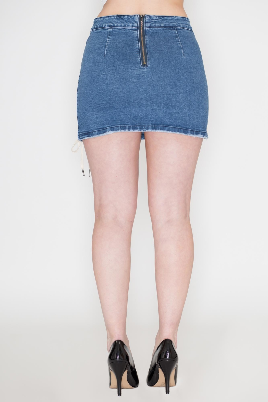 Listicle Lace-Up Denim Skirt - Side Cropped Image