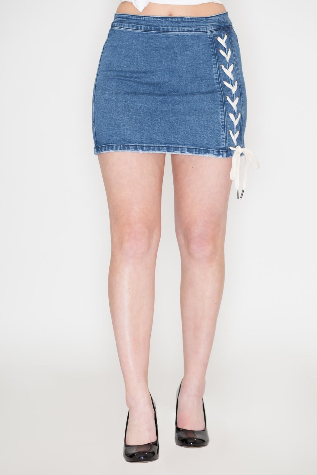 Listicle Lace-Up Denim Skirt - Main Image