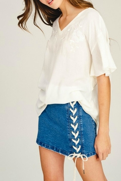 Shoptiques Product: Lace-Down Denim Skirt