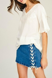 Listicle Lace-Down Denim Skirt - Product Mini Image
