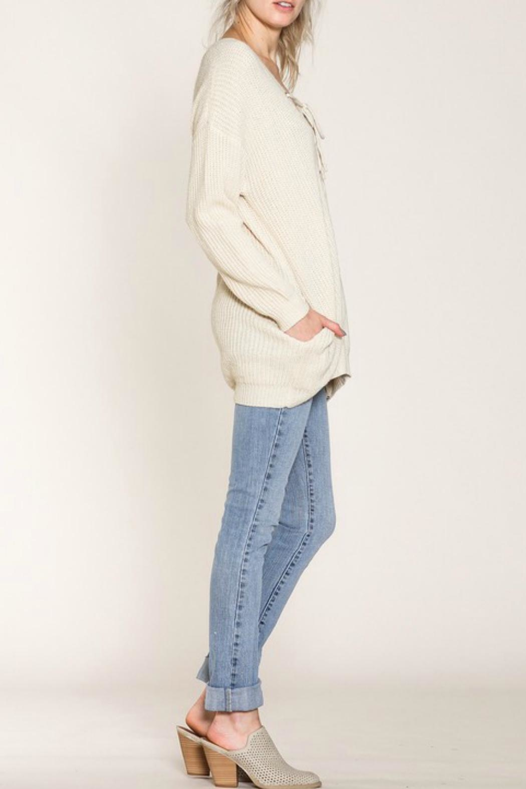 Listicle Lace-Up Front Sweater - Front Full Image