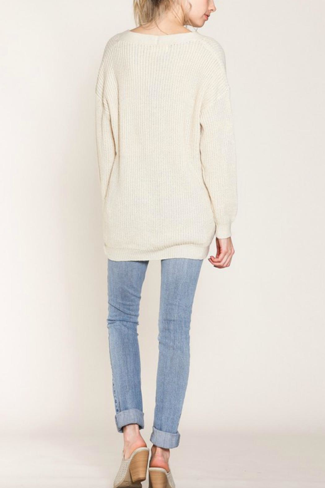 Listicle Lace-Up Front Sweater - Side Cropped Image