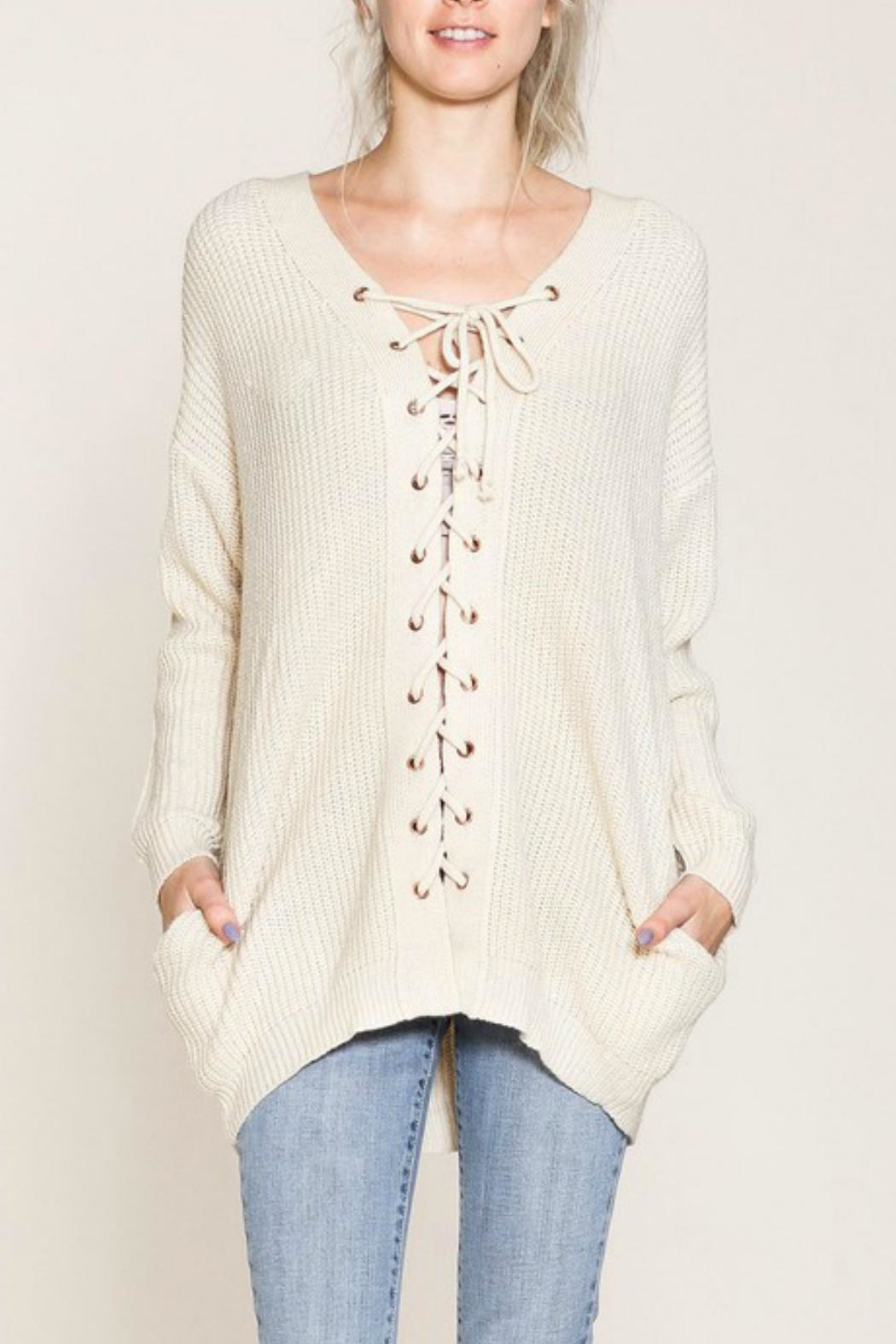 Listicle Lace-Up Front Sweater - Main Image