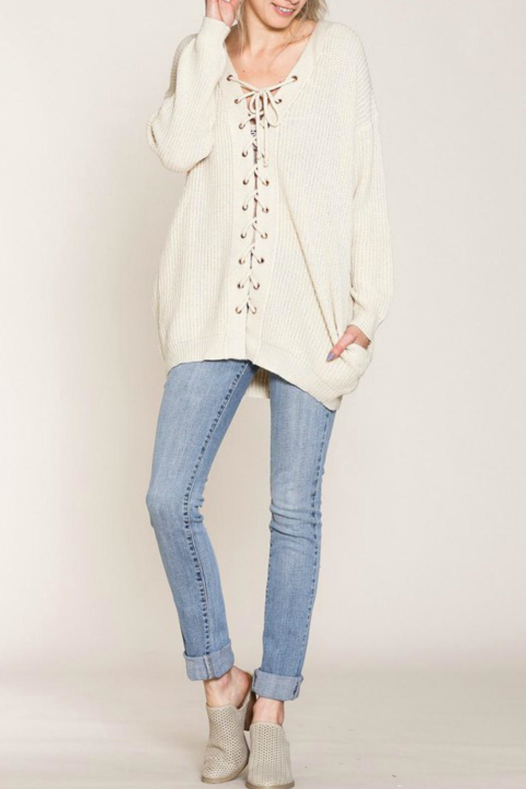 Listicle Lace-Up Front Sweater - Back Cropped Image