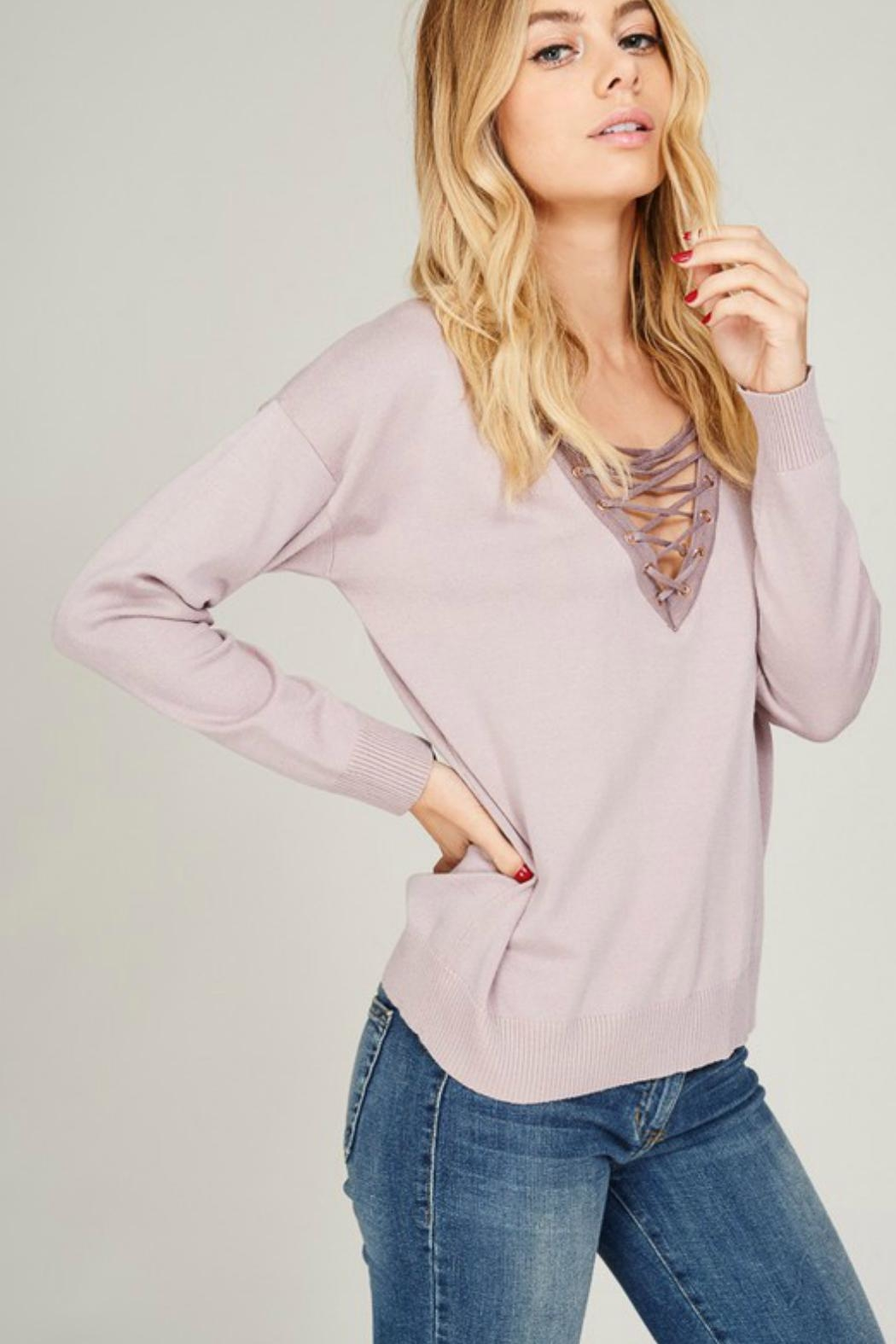 Listicle Lace Up Pullover - Side Cropped Image