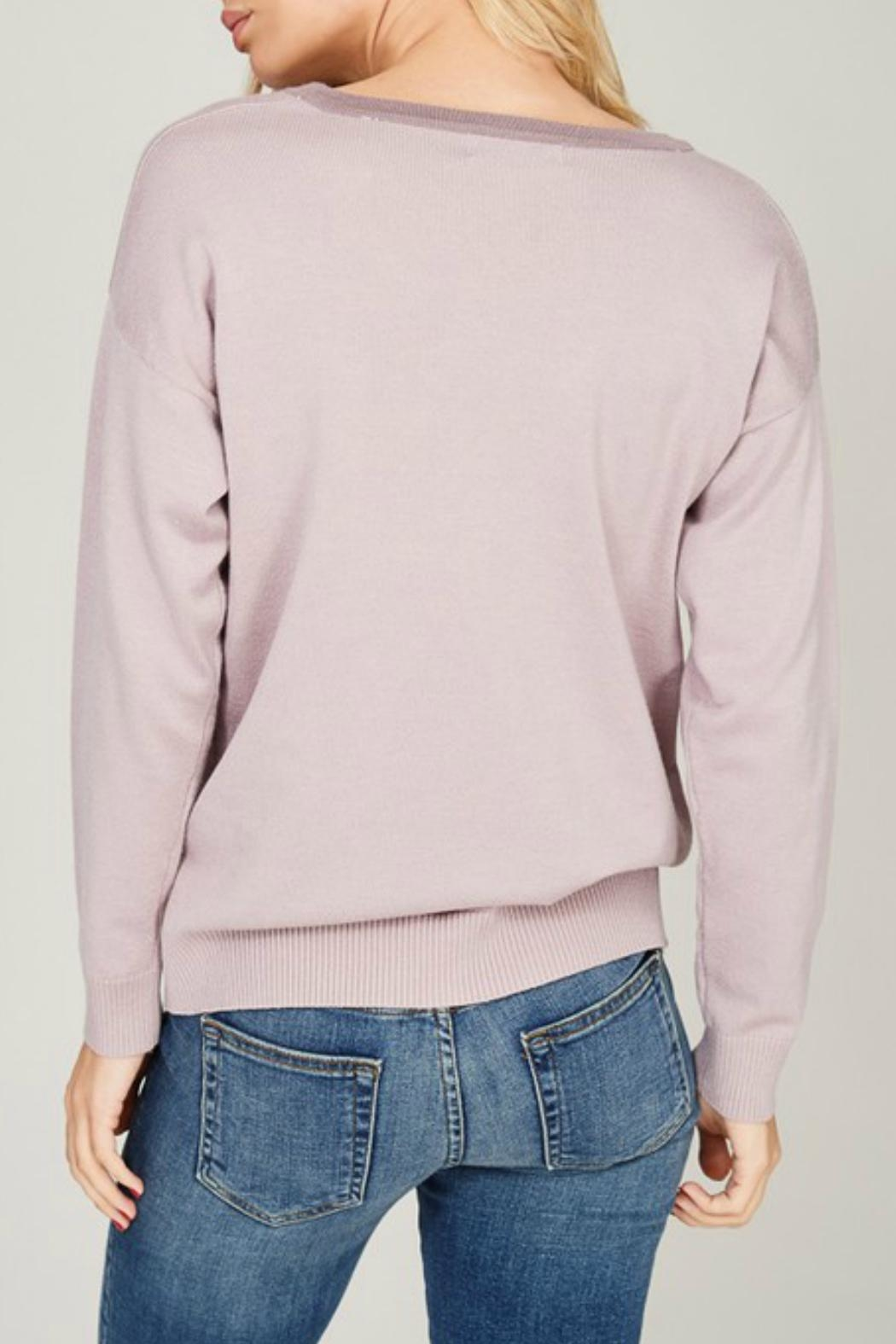 Listicle Lace Up Pullover - Back Cropped Image