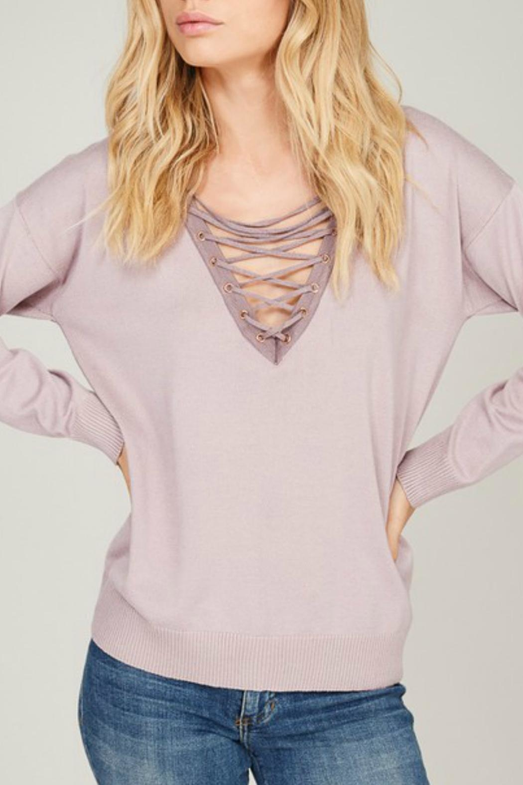 Listicle Lace Up Pullover - Front Full Image